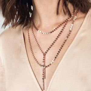 BaubleBar Amber Layered Y-Chain Necklace Rose Gold